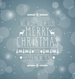Merry Christmas Retro abstract design greeting card.Handwritten text. Happy New Year message Stock Images