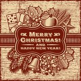 Merry Christmas Retro Card Brown Royalty Free Stock Photography