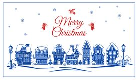 Merry Christmas retro city concept banner, simple style stock illustration