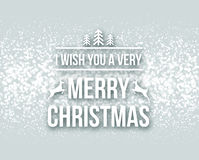 Merry Christmas retro design typography lettering greeting card with falling snowflakes and xmas tree background.  Royalty Free Stock Images
