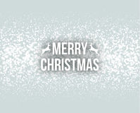 Merry Christmas Retro Design Typography Lettering Greeting Card with Falling Snowflakes and Xmas Tree Background.  Royalty Free Stock Photo