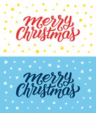 Merry Christmas retro flat style greeting cards Royalty Free Stock Images