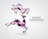 Merry Christmas retro geometric reindeer Stock Photography