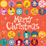 Merry Christmas retro greeting card Stock Image