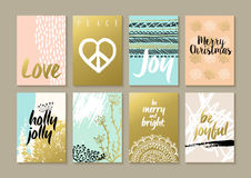 Merry christmas retro hipster boho hippie card set Stock Images