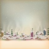 Merry Christmas retro postcard village. EPS 10 Stock Images