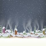 Merry Christmas retro postcard village. EPS 10 Royalty Free Stock Image