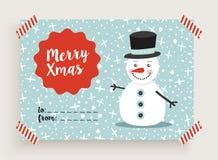 Merry Christmas retro snowman card template Royalty Free Stock Photo