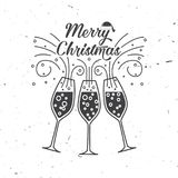 Merry Christmas retro template with Champagne glasses. Stock Images