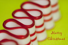 Merry Christmas Ribbon Candy in Red & White Stock Images