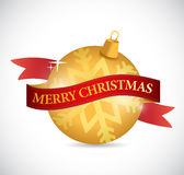 Merry christmas ribbon and ornament. illustration. Design over a white background Stock Photos