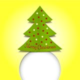 Merry Christmas ribbon paper green Royalty Free Stock Images