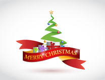 Merry christmas ribbon and tree illustration Stock Photography