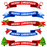 Merry Christmas Ribbons or Banners Set. Collection of Merry Christmas party ribbons or banners in two different colors (red and blue) with Christmas elements ( Stock Images