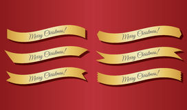 Merry Christmas ribbons Stock Photography