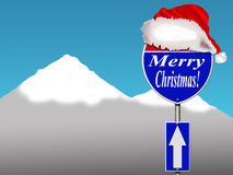 Merry Christmas road sign Stock Images