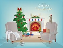 Merry Christmas room interior background with a fireplace, Christmas tree, armchairs.  Candles socks and decorations. Merry Christmas room interior background Stock Images