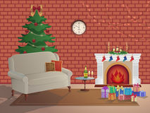 Merry Christmas room interior on a brick background with a fireplace, Christmas tree, couch, gift boxes, wall clock. Candles socks Stock Photo