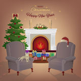 Merry Christmas room interior with a fireplace, Christmas tree, armchairs, colorful boxes with gifts. Candles, cat, Santas hat. Merry Christmas room interior Royalty Free Stock Photography