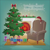 Merry Christmas room interior with a fireplace, tree, armchair, gifts in boxes. Xmas night celebration interior vector illustrati. Merry Christmas room interior Stock Photo