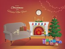 Merry Christmas room interior on a red background with a fireplace, Christmas tree, couch, gift boxes, wall clock. Candles socks Royalty Free Stock Photos