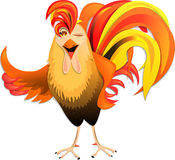Merry Christmas rooster in cartoon style Royalty Free Stock Photo