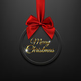Merry Christmas round banner with red ribbon and bow. Merry Christmas round banner with red ribbon and bow, on black background. Brochure or banner template Royalty Free Stock Images