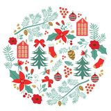 Merry Christmas round composition Royalty Free Stock Image