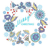 Merry Christmas . Round frame of flowers and snowflakes Stock Photo