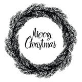Merry Christmas Round frame of spruce branches Stock Photos