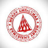 Merry Christmas rubber stamp. With Christmas Tree. EPS 10 vector illustration