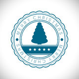 Merry Christmas rubber stamp. With Christmas Tree. EPS 10 royalty free illustration