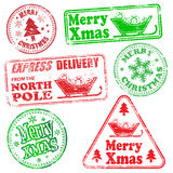 Merry Christmas Rubber Stamps Stock Image