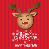 Merry christmas and  Rudolph. Merry christmas & Happy New year,vector lettring,  Rudolph, Tree Royalty Free Stock Image