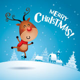 Merry Christmas! Rudolph Reindeer feeling excited. Royalty Free Stock Images