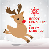 Merry christmas and running Rudolph Stock Photo