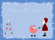 Merry Christmas - It`s a girl. Santa claus Stock Photography