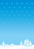 Merry Christmass or New Years landscape. Vector vertical background of winter landscape stock illustration