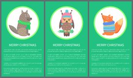 Merry Christmas 60s Postcard Vector Illustration. Merry Christmas 60s postcard with happy animals on green background. Vector illustration with wolf in scarf Royalty Free Stock Photos