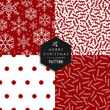 Merry Christmas 80s retro seamless pattern set. Merry Christmas hipster 80s vintage style seamless pattern set. Red white xmas backgrounds with snowflakes, lines Stock Images