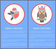 Merry Christmas 60s or 70s Birds Postcard Congrats. Merry Christmas 60s or 70s postcard congrats with beautiful bullfinch in warm winter hat and cute owl. Vector vector illustration
