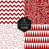 Merry Christmas 80s vintage seamless pattern set. Merry Christmas retro 80s style seamless pattern set. Holiday hipster red and white shapes xmas background Royalty Free Stock Photos