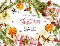 Merry Christmas sale background. With Christmas decorations stock photo
