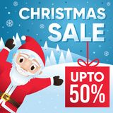 Merry Christmas sale background with Santa Claus character Stock Photo