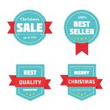 Merry Christmas sale badges. Vector illustration. Royalty Free Stock Photos