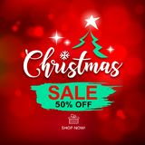 Merry Christmas sale brush stroke design with on Bokeh red background vector illustration