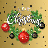 Merry Christmas 2017 sale decoration poster card and Happy New year background. Merry Christmas 2017 poster card. Calligraphy text, on the gold background with Royalty Free Stock Image