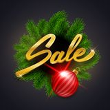 Merry Christmas Sale discount vector illustration with green fir Stock Images