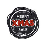 Merry Christmas sale lettering and typography elements. Holiday Online shopping type quote on handcrafted wax seal. Template. Stock vector illustration isolated Stock Photo