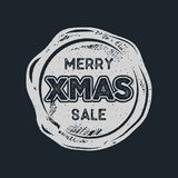 Merry Christmas sale lettering and typography elements. Holiday Online shopping type quote on handcrafted wax seal. Template. Stock vector illustration isolated Royalty Free Stock Photography